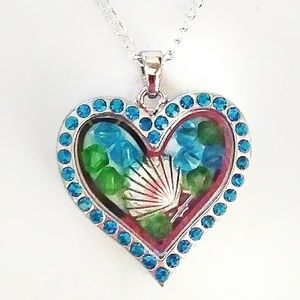 Blue Silver Seashell Floating Charm Heart Locket